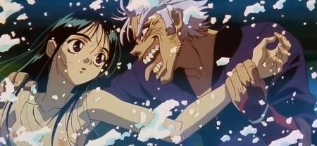 からくりの君 文渡蘭菊の胸裸ヌード水浴びシーン乳首7
