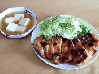 170210_4449 財田さんの料理・豆腐の中華風とろみスープ・鶏もも肉の照り焼きソテーVGA