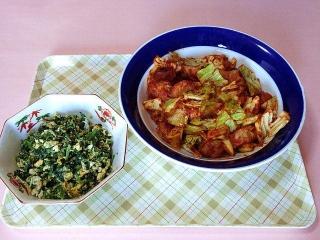170228_4472 ほうれん草と玉子の炒め物・シウマイとキャベツのチリソース炒めVGA