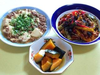 170328_4526 すき焼き肉豆腐・パプリカ&胡瓜&豚肉の味噌炒め・かぼちゃのふくめ煮VGA