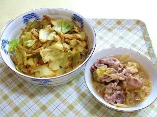 170425_4607 キャベツと鶏ササミと舞茸の中華風カレー炒め・白菜と豚コマの和風煮物VGA