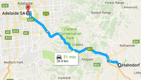 Hahdorf to Adelaide