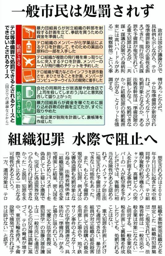 3月22日 産経 テロ準備罪