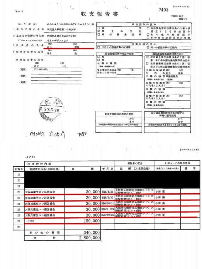 平成26、27年度の政治資金収支報告書01