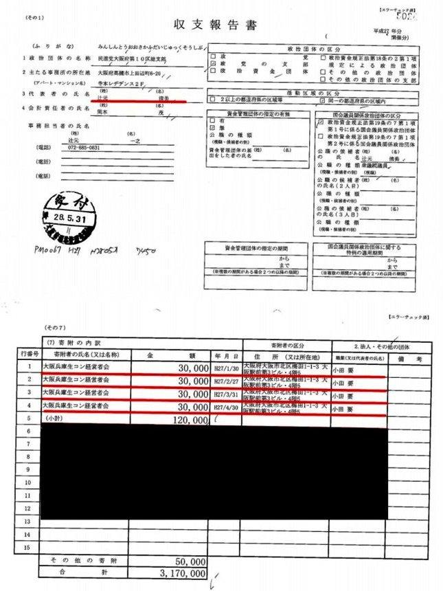 平成26、27年度の政治資金収支報告書02