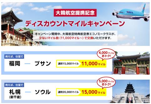 大韓航空提携記念ディスカウントマイルキャンペーン