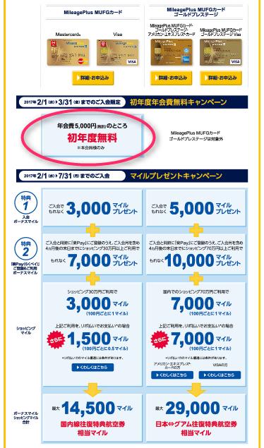 Mileage Plus MUFGカード入会キャンペーン