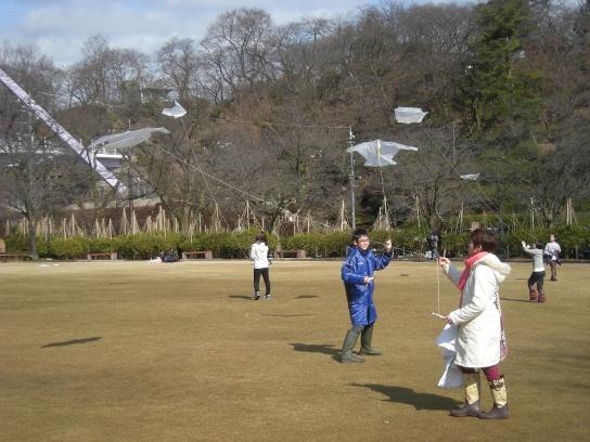 西山公園で凧揚げ