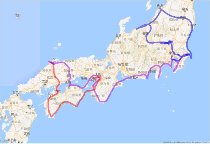 2017年2月14日からの移動行程図