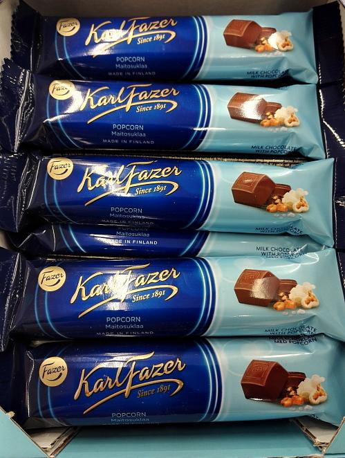 フィンランド Fazer ポップコーン入り チョコバー