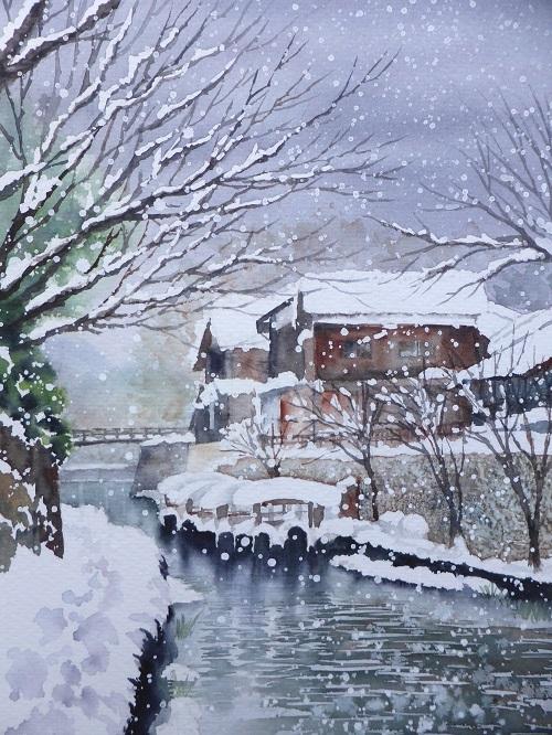 八幡掘りの雪