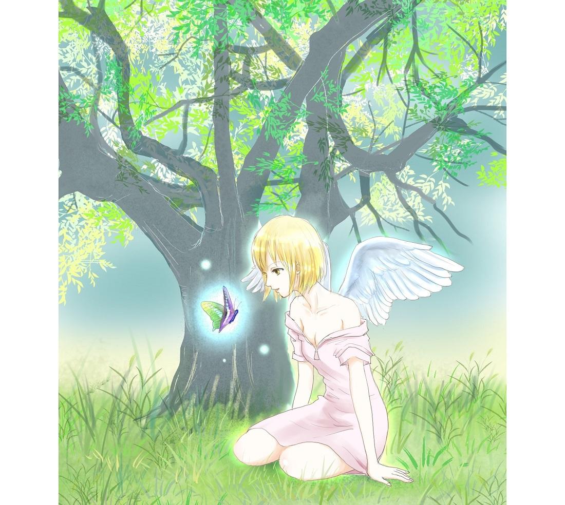 蝶と語る少女