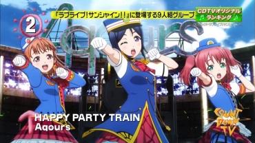 「CDTV」HAPPY PARTY TRAINシングルランキングラブライブ!サンシャイン!! Aqours アクア2nd Love Live! Sunshine!!(CYaRon!、AZALEA、Guilty Kiss)HAPPY PARTY TRAIN伊豆箱根鉄道駿豆線ハッピーパーティートレイン松浦果南「君のこころは輝いてるかい」「ジングルベルがとまらない」オリコン