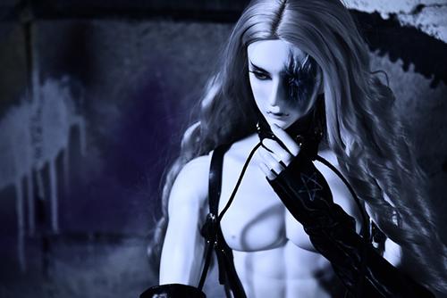 Ring doll、杉苔の空さんにメイクして頂いた、ゾンビヘッド・KaneのKarma。眼帯の下のおぞましい素顔。