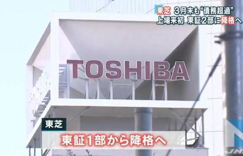 東芝 東京株式市場 1部 指定銘柄 2部降格