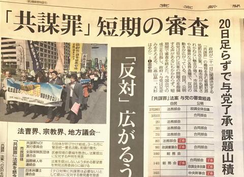 テロ等準備罪 東京新聞 うねる 閣議決定 国際組織犯罪防止条約 連座 共謀罪
