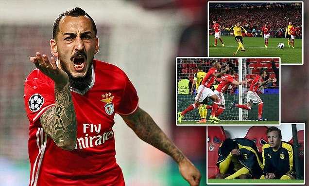 Fulham flop Mitroglou puts Benfica in charge of Champions League last-16 tie with only goal in win over struggling Dortmund