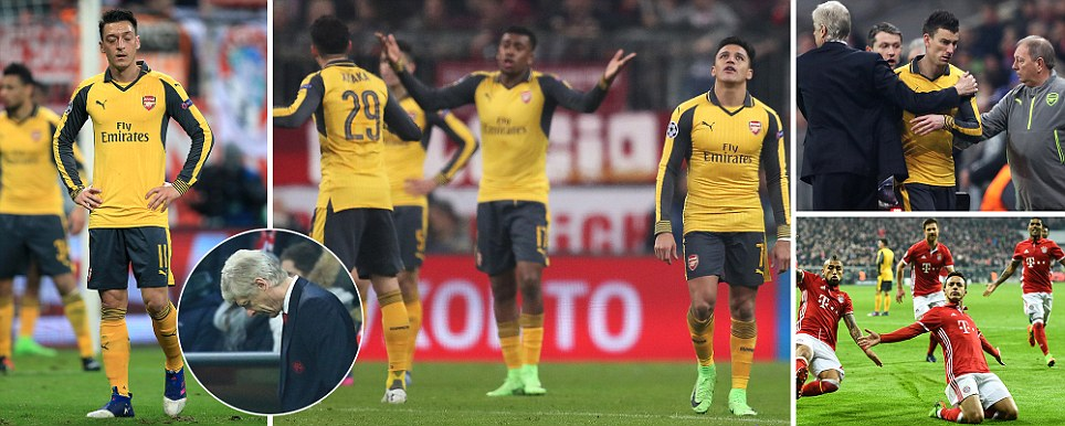 Humiliated Arsenal capitulate after Koscielny injury as five-star Bayern Munich tear Wengers flops apart in Champions League