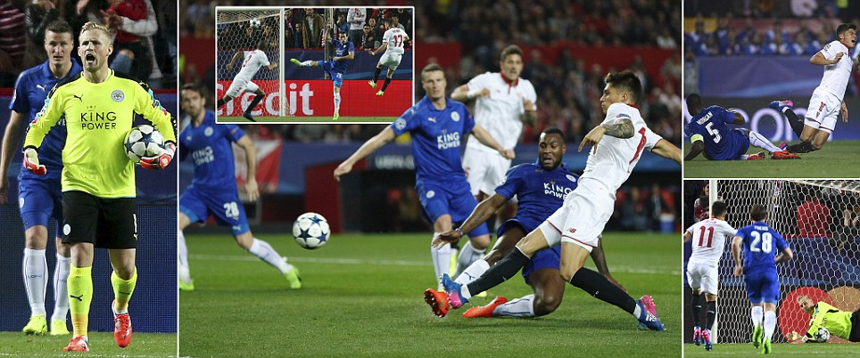 Vardy nets crucial away goal for Leicester as they halve dominant Sevillas lead in Champions League last-16 first leg