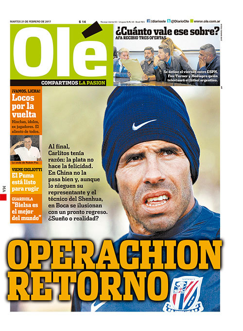 Olé reporting that Tévez is already not happy in China