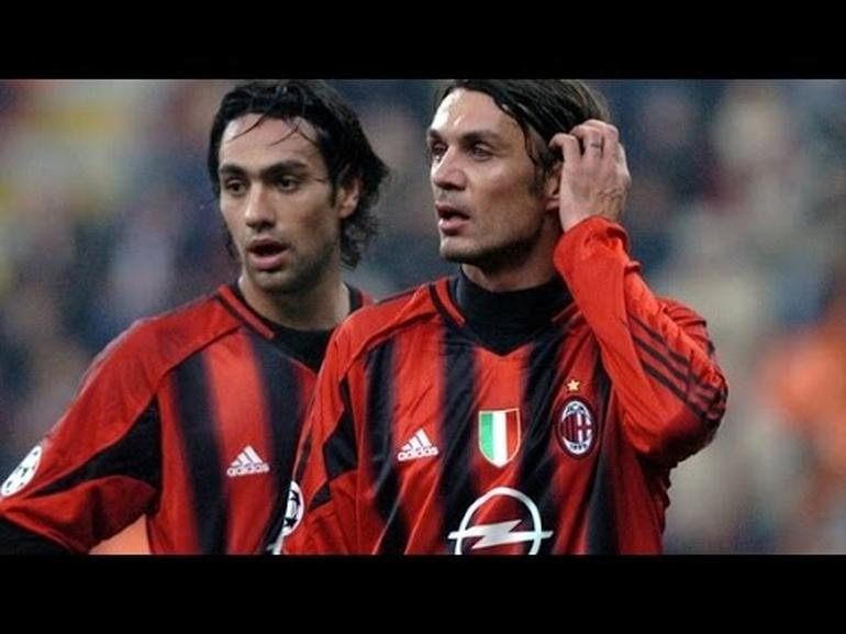 Italians Milano defenders Nesta and Maldini