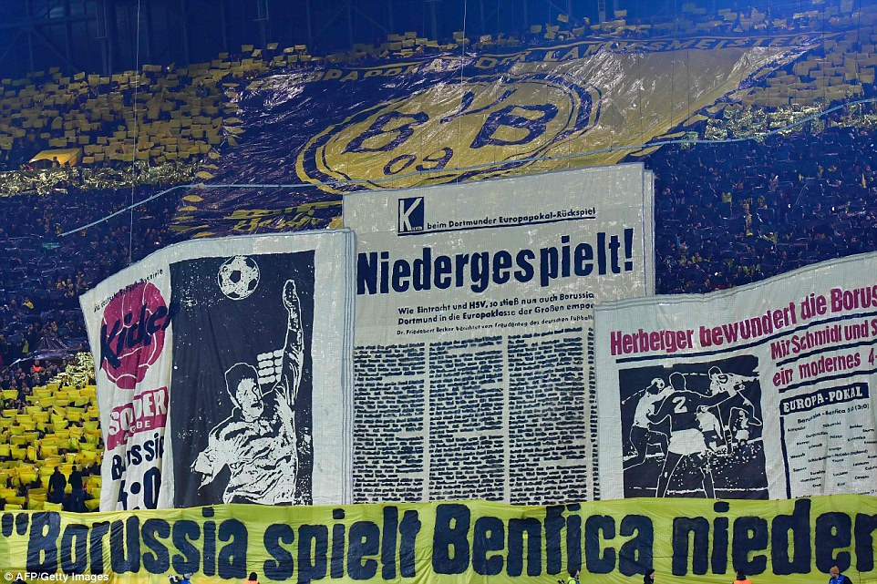 Dortmunds famous Yellow Wall were at their brilliant best as they displayed a variety of banners prior to kick-off