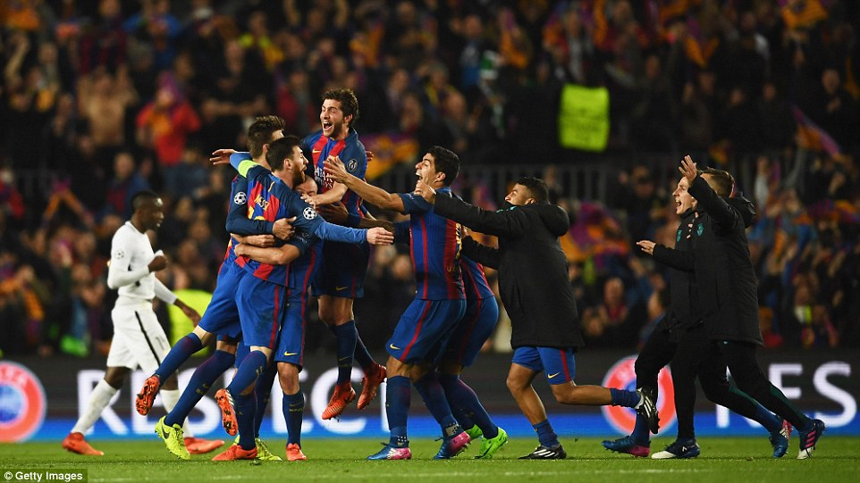 Barcelonas players celebrate at the full-time whistle after pulling off an incredible comeback against PSG