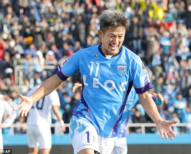 Kazuyoshi Miura, 50, scored his first goal of the season on Sunday for Yokohama FC