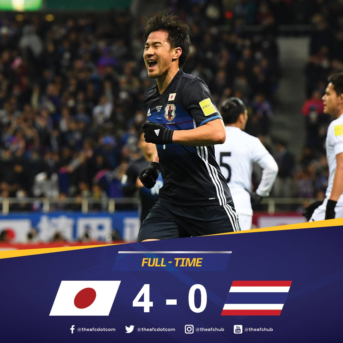 FULL TIME @jfa_samuraiblue 4-0 @FAThailand - A comprehensive win for Japan