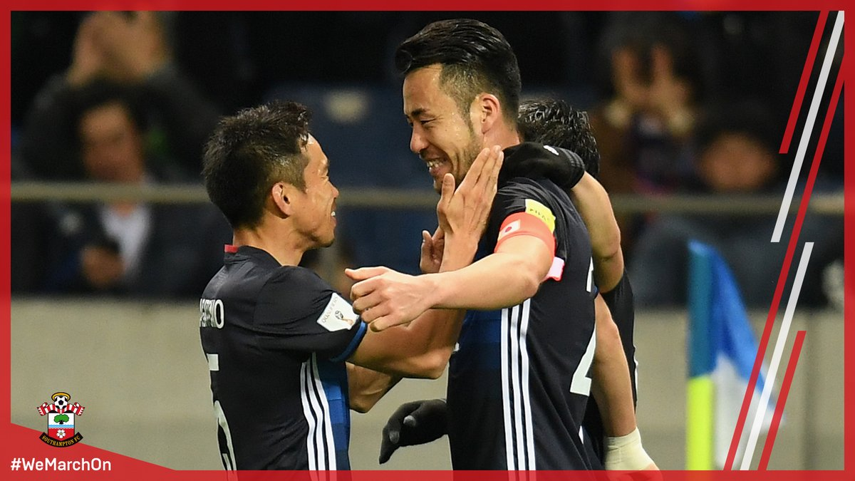 SaintsFCs @MayaYoshida3 celebrates after his header made it 4-0 to Japan against Thailand!