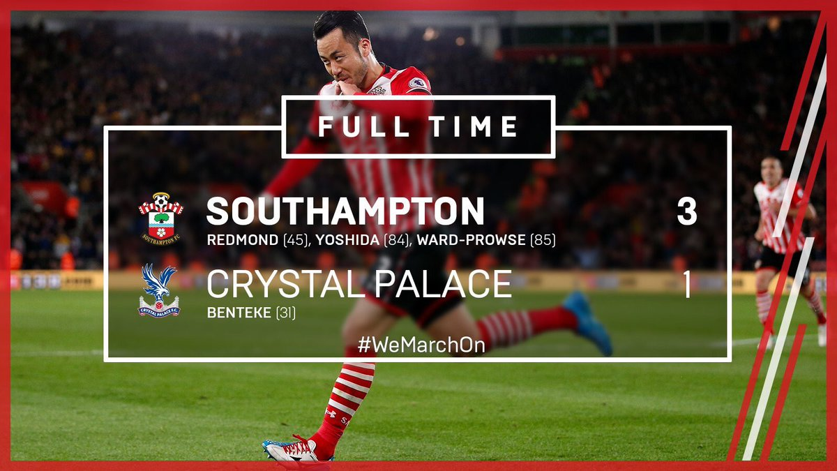 Saints send Palace to within one point of bottom three Late goals from Maya Yoshida