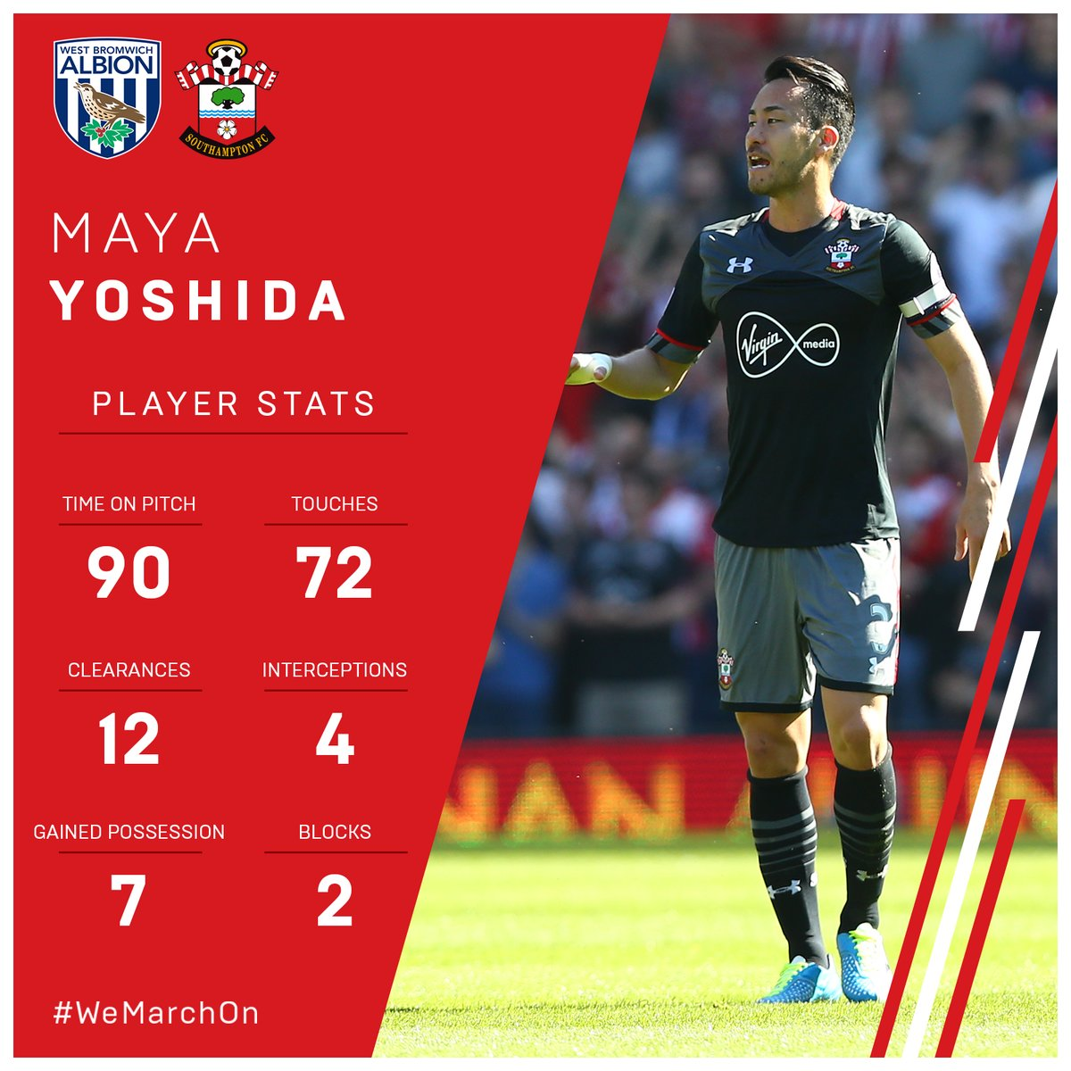 A captains performance from #SaintsFCs @MayaYoshida3 this afternoon! 👊