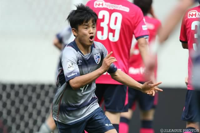 FC Tokyo Under-23 striker Takefusa Kubo became the youngest player to score a goal in a J_League match