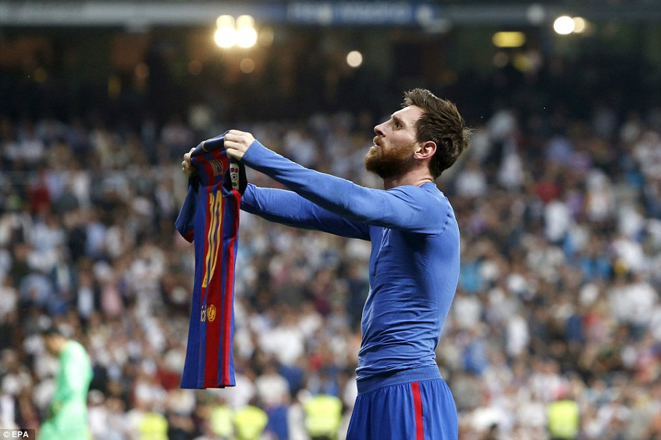Messi was booked for removing his shirt and showing it to the Real Madrid fans after his brilliant match-winner on Sunday