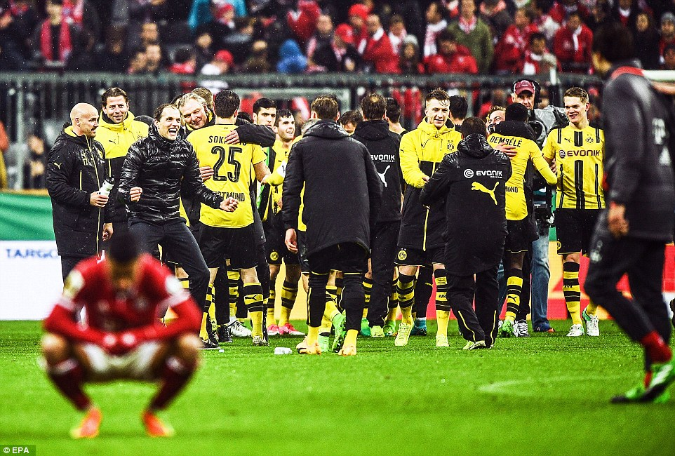 Thee were celebrations on the Allianz Arena pitch after Dortmund progressed to the final of the German Cup in Munich