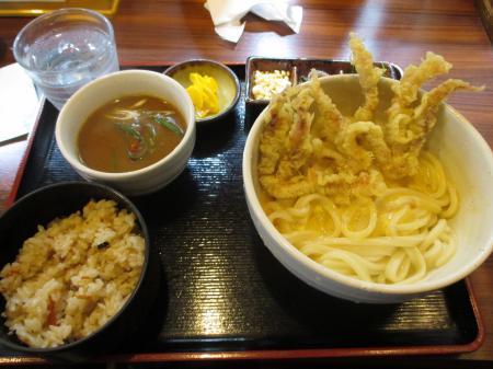 釜玉 ゲソ天付き定食+チョイカレー