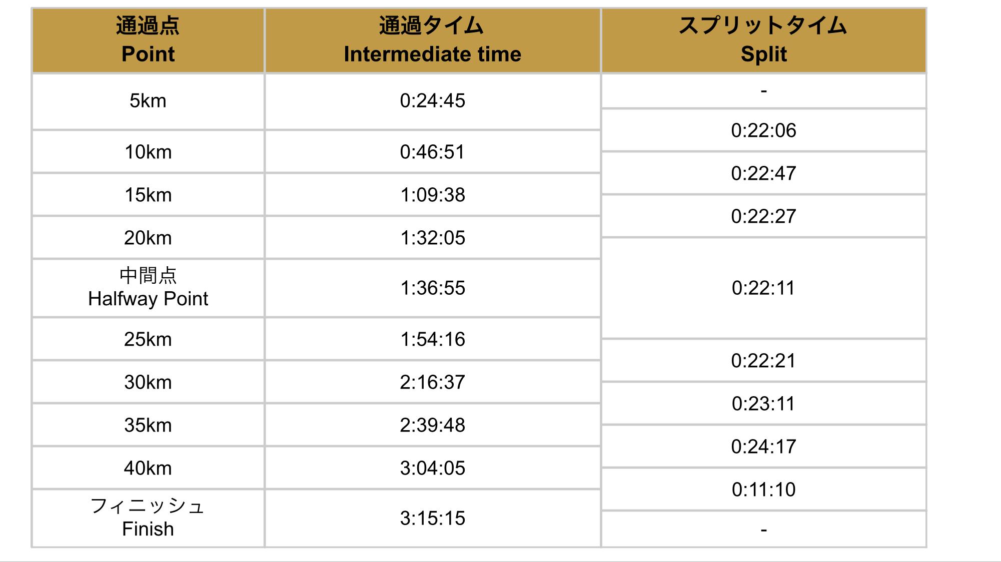 2014東京マラソン結果