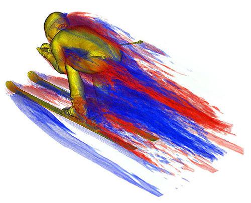 ダウンヒルの選手は下腿部で最大抵抗
