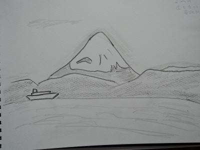 岩井海岸、富士山スケッチ