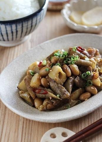 大豆と根菜のカレー炒め2
