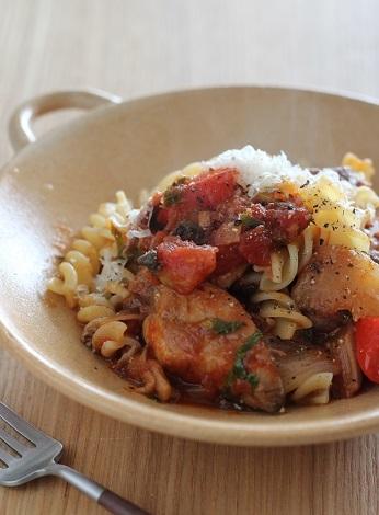 鯖トマト煮のパスタ