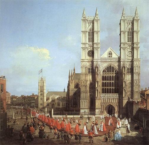 世界遺産のウエストミンスター寺院の絵画 (Canaletto 1749 )