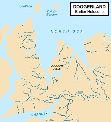 紀元前9千年紀頃、テムズ川がライン川と合流していた状況