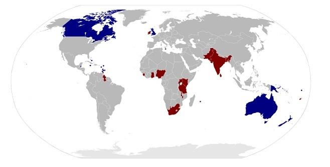 青が現在の英連邦王国。赤がかつて英連邦王国であった国。