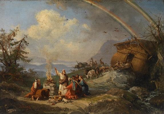 『箱舟を出た後のノアによる感謝の祈り』ドメニコ・モレッリ