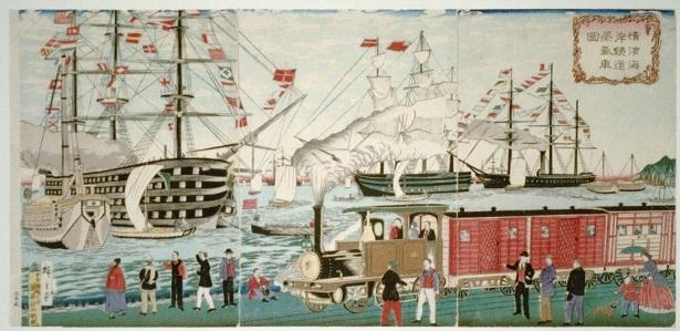 開業当時(1874年)の横浜駅(3代目歌川広重画)