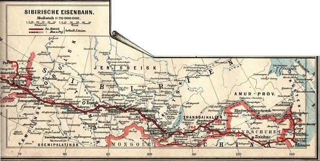 シベリア鉄道路線地図(1897年当時、ドイツで発行)