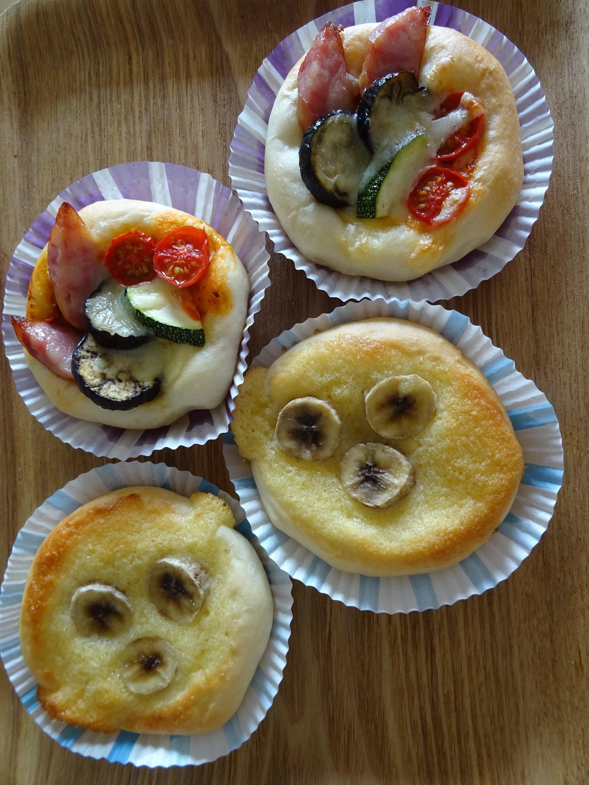 夏野菜ピザ&バナナクリーム