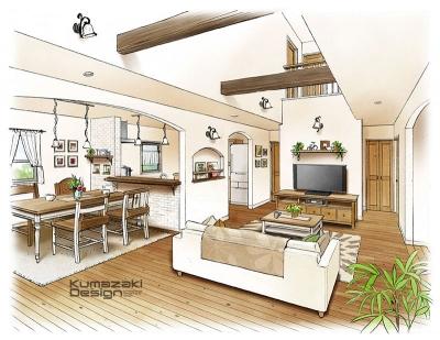 一戸建て住宅 木造住宅 パース リビング キッチン LDK 内観パース インテリアパース 手書きパース 手描きパース フォトショップ photoshop
