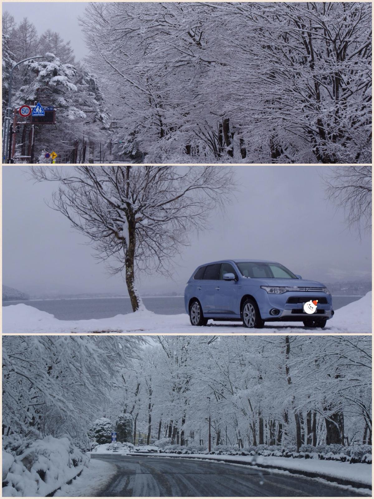 ラコストリ山中湖 雪景色 アウトランダーPHEV